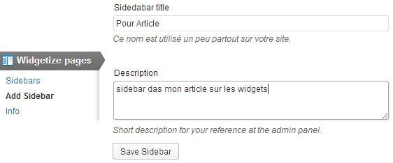 menu et page pour créer une sidebar avec plugin widgetize pages light