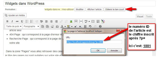 Comment trouver l'ID d'un article WordPress