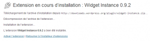 Activation de l'extension Widget Instance
