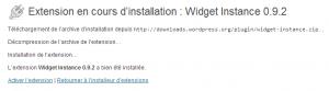 Activation de l'extension Widget Instance