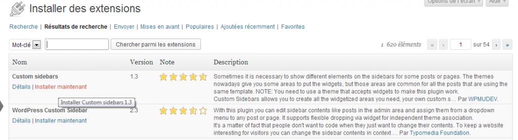 Vous devez cliquer pour installer l'extension 'Custom sidebar'