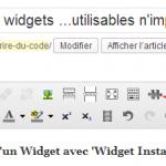 bouton en forme de puzzle ajouté par l'extension Widget Instance
