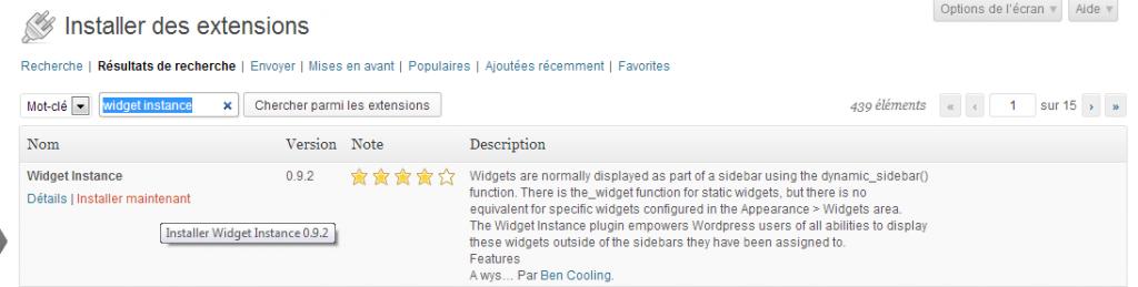 Vous devez cliquer pour installer Widget Instance