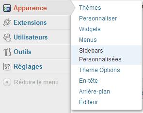 menu pour Custom sidebar