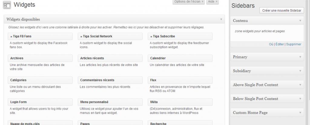 Page Widgets de WordPress ou l'on retrouve la sidebar 'Contenu' que nous avons créé