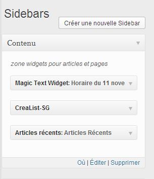 Widgets dans la nouvelle sidebar