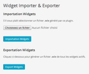 page administration WordPress de Widget Importer & Exporter