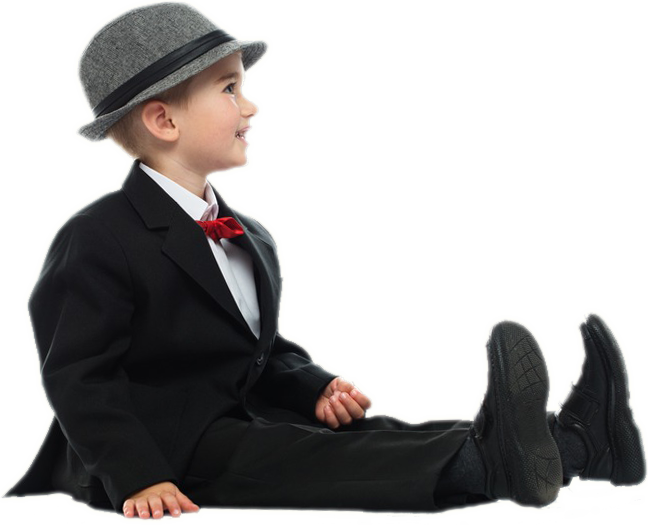 little-boy-in-black-suit-and-grey-hat-sitting-on-a-floor-s